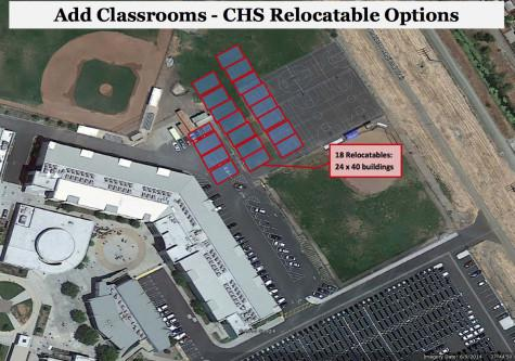 The San Ramon Valley Unified School District's proposed plan for Cal shows 18 portable classrooms to be located behind the main building where part of the parking lot and basketball courts are now located.
