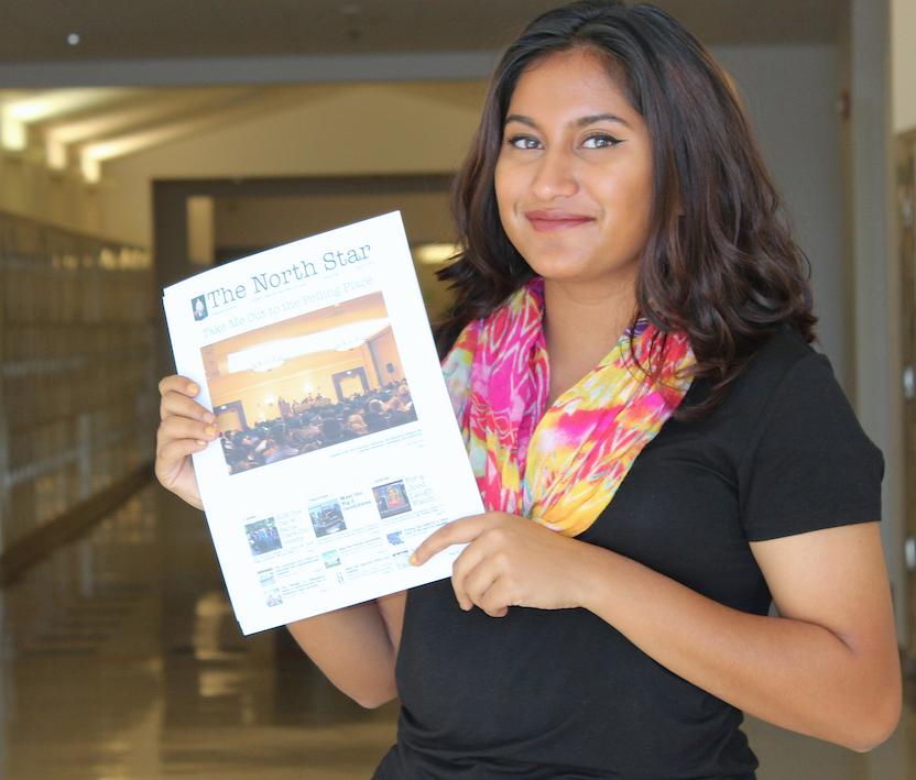 Senior+Abeeha+Shamshad+poses+with+her+political+newspaper%2C+North+Star.