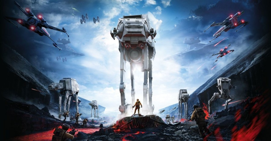 "Above, an Imperial AT-AT towers over a young rebel. ""Star Wars: Battlefront"" has received much acclaim for it's incredible attention to detail and fun game modes."