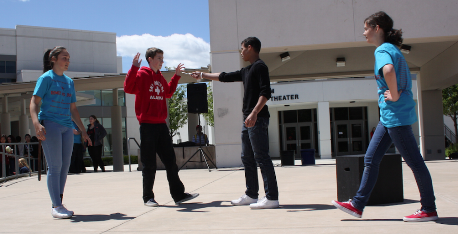 "The cast of ""Romeo and Juliet"" practice a duel in prepartion for tonight's final show."