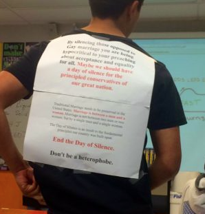 A student at Dougherty Valley High displayed an anti-Day of Silence flyer on his back.