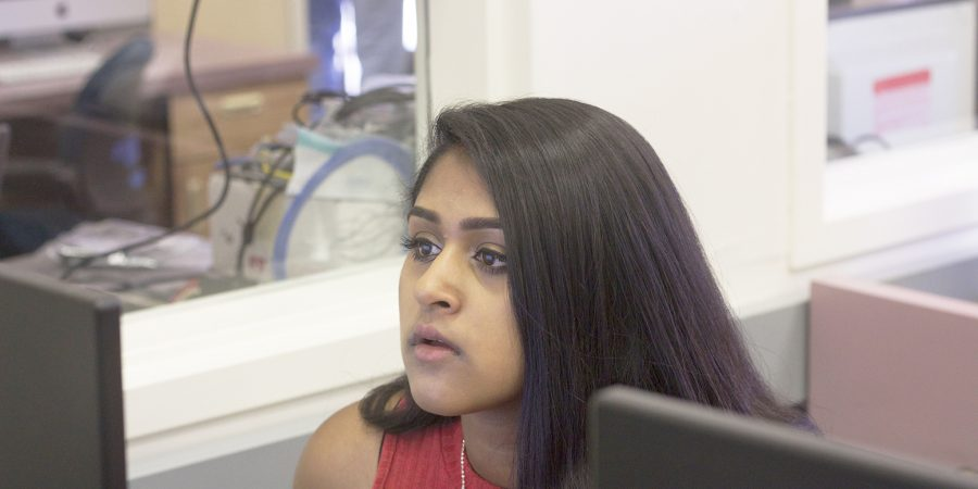 Cal student Ridhi Vuriti is busy at work coding. Last summer, she took part in the highly selective program Girls Who Code.