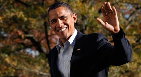 Former President Barack Obama waving goodbye one last time.