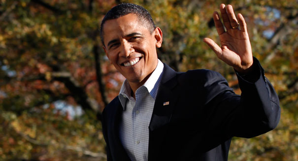 Former President Barack Obama waving goodbye one last time.