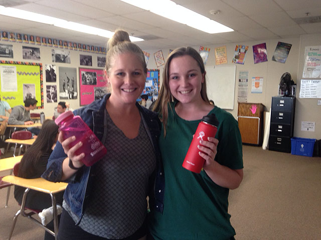 Senior+Ellen+Lyons%2C+right%2C+and+Principal+Sarah+Cranford+both+pose+with+their+water+bottles%2C+which+students+will+be+able+to+soon+fill+on+campus+at+Flowater++reusable+stations%2C+such+as+the+one+pictured+right.