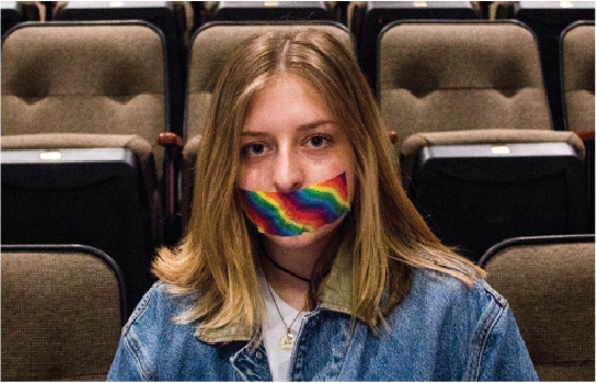 Junior Jillian Casavant participates in the Day of Silence on April 21, when thousands of people nationwide hold a silent protest to represent the individuals within the community that are restricted from having a voice.