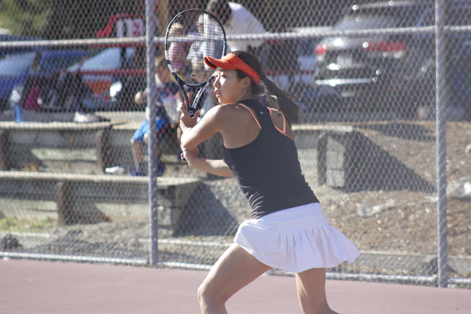 Senior Msay Zhu playing in the match against Monte Vista.