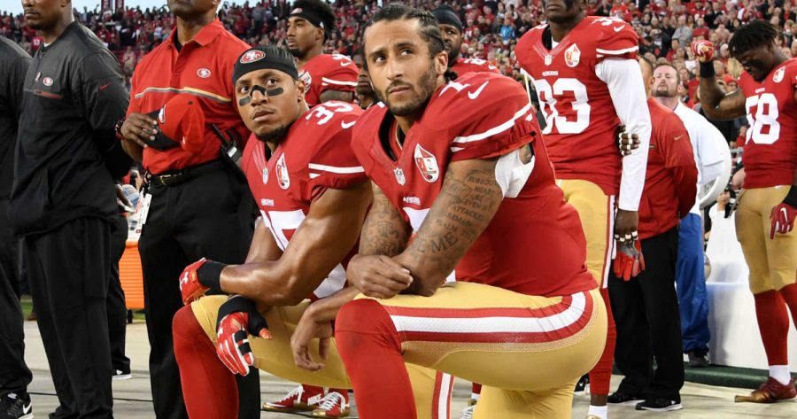 Colin+Kaepernick%27s+decision+has+spurred+a+nationwide+debate+on+kneeling+during+the+National+Anthem.