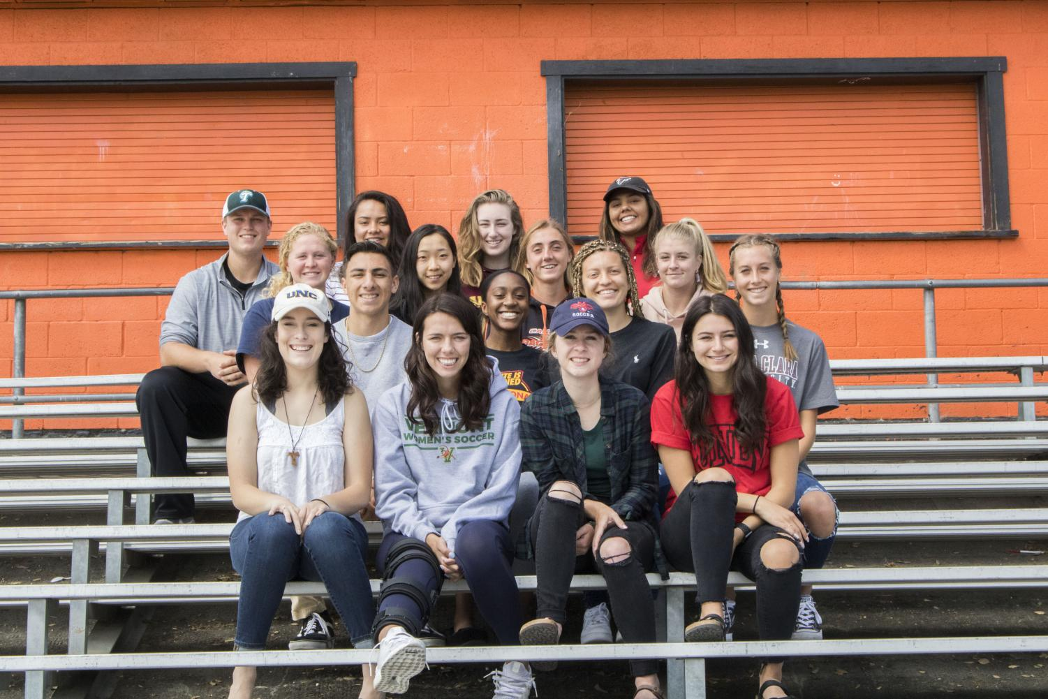 Senior athletes continuing their careers in college include front row from left to right, Ashley Franza, Abby Pokrzywinski, Emily Wright, and Isabella Perez; second row, Israel Mendoza, Mikaela Bismillah, Sydney Wilson, and Kayla Neumann; third row, Drew Halvorson, Meichen Zhu, Alyssa Brewer, Erin Cady; fourth row, Ryan Wright, Teisa Tuioti, Jenna Hahn, and Alexis Hooper.   Not pictured, Gabriella Edmond, Bryan Friedel, Alexis Berlin, and Robert Poynter.