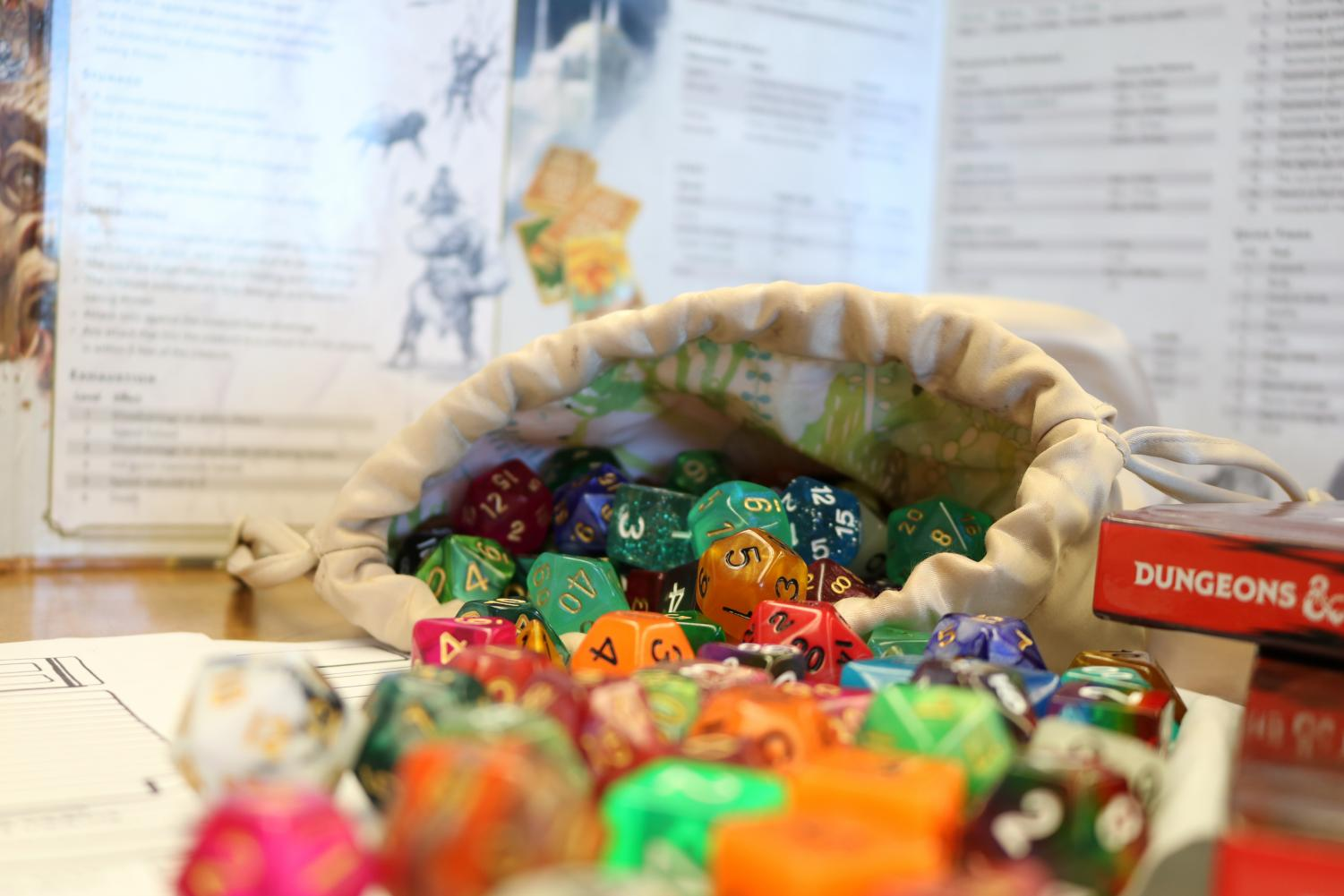 D&D uses various dice, from four-sided to 20-sided die.
