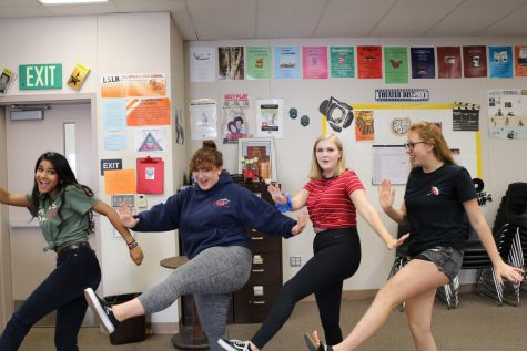 From left to right. Erica D'Souza, Sarah O'Brien, Katelyn Reedy, and Alex Kerstetter goof around in the Theater 4 class.