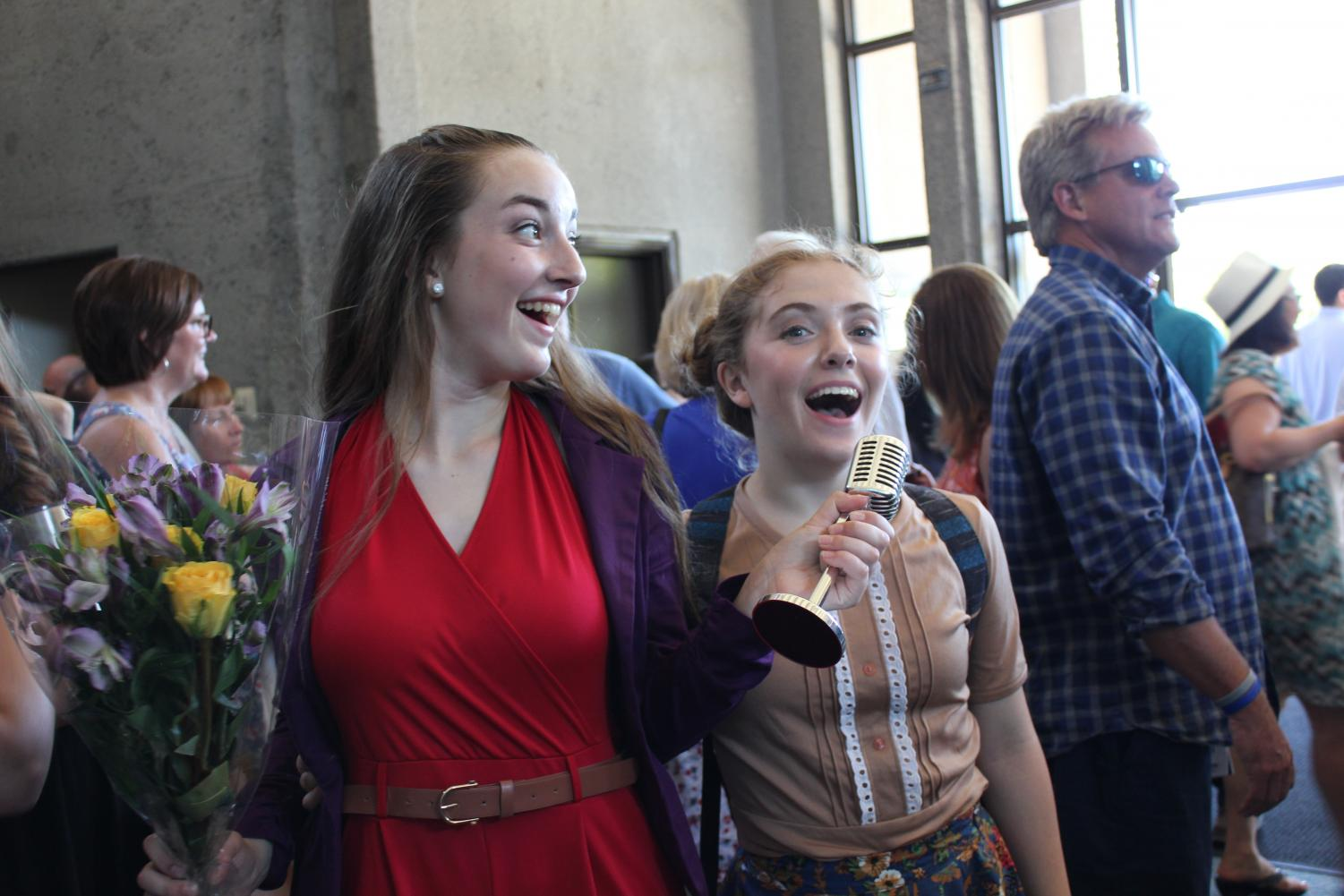 Sophomore Maddie Harris, left, sings with her theater group, Grand Performance Arts in Livermore. Harris recently self-produced a documentary about her theatre company and the heroes in it for the PTA Reflections contest.