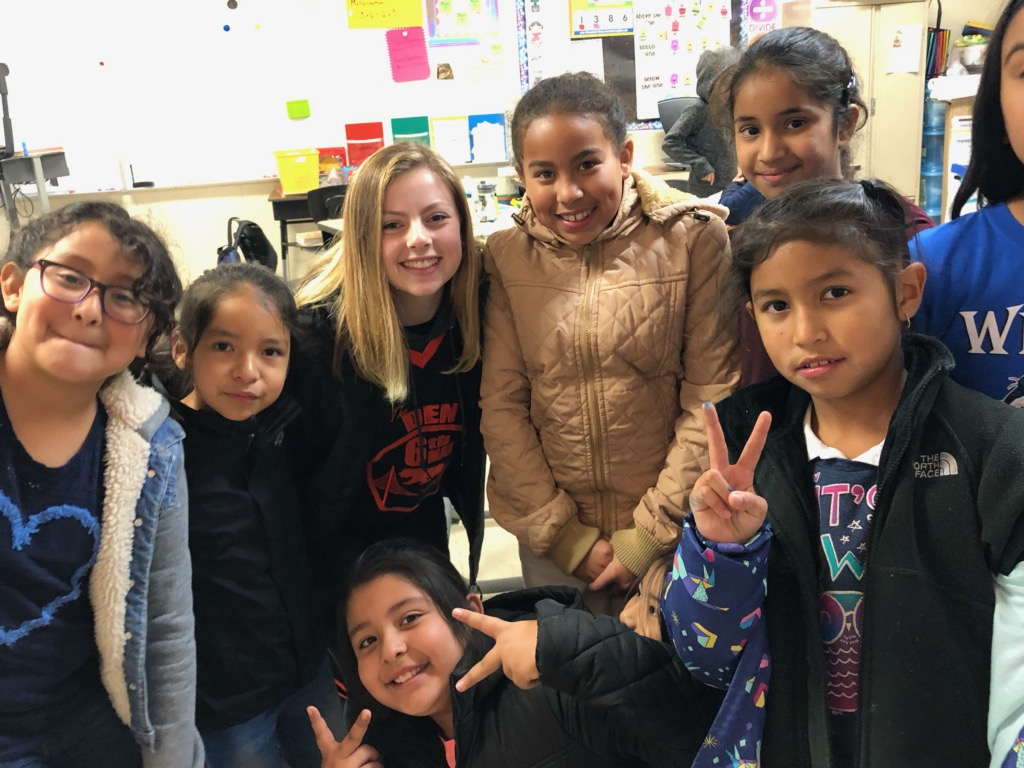 Cal High leadership student Alex Messich, third from the left, poses with students at Wilson Elementary School