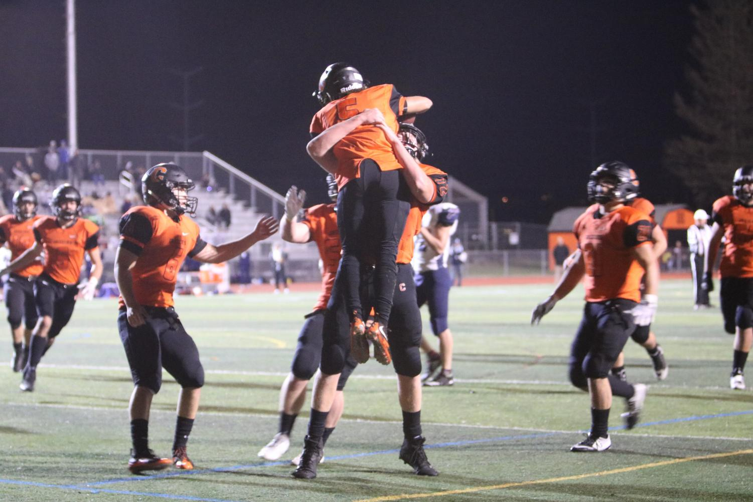 Senior Jahmal Cornwell celebrates one of his three touchdowns in Cal's 35-34 NCS semifinal loss to Freedom on Nov. 30.
