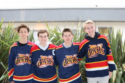 From left to right, Anton Roepken, Cade Llewellyn, Nick Franzwa, and Tanner Curtis helped the Tri Valley Blue Devils 16AU '03 team win the Western Regional Championship and qualify for the International Silver Stick in Ontario.