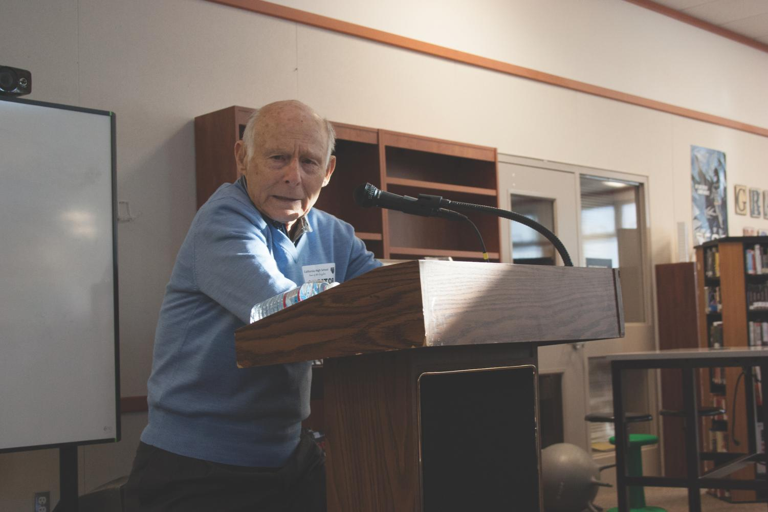 Holocaust survivor and San Ramon resident Bernie Rosner speaks to students at Cal High about his experiences at the Auschwitz and Mauthausen concentration camps. He focused his speech on the resilience of the human spirit.