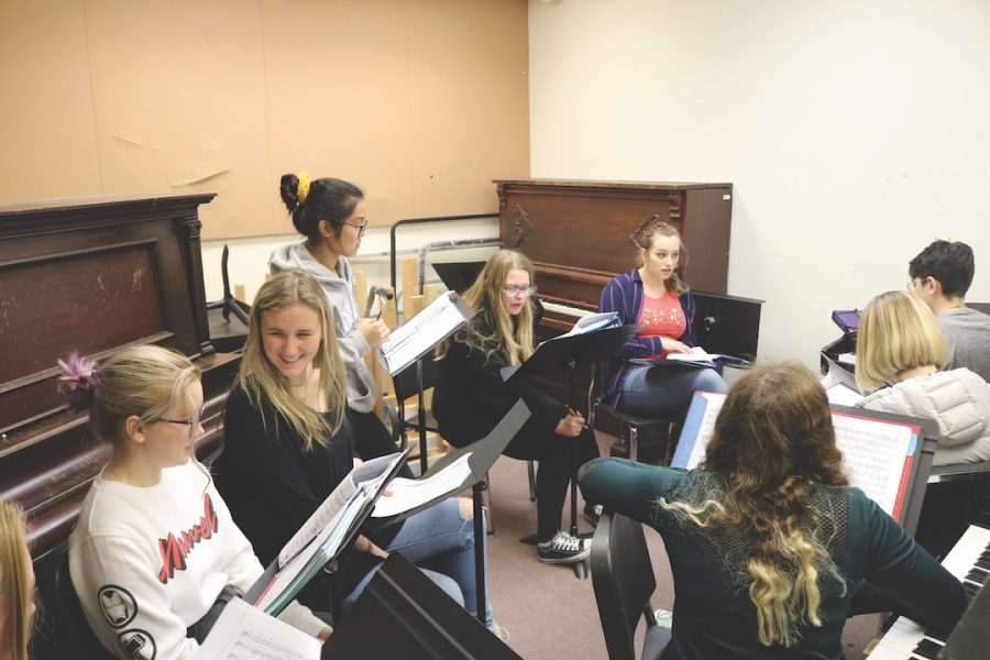 Above, choir students review their music in one of the music building practice rooms. Top right, this practice room is a great place for all musicians to get some individual time in. Below, the library's quiet room is a great place to study.