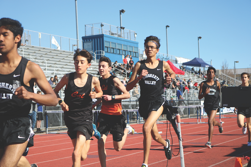 Freshman Matthew Alm, second from left, keeps up with the pack during the 1600-meter race for Cal's track team. Alm also competes in he 3200m and 800m races, and ran varsity cross country for the Grizzlies in the fall.