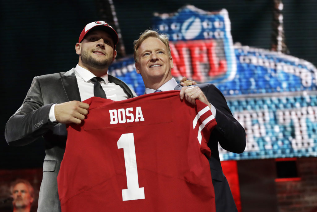 Nick Bosa poses with Roger Goodell after being chosen as the second overall pick.