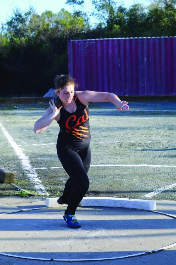 Annika+Lister+prepares+to+throw+the+shot+put+in+a+meet+against+Monte+Vista.+She+would+end+up+with+the+best+shot+put+distance+of+anyone+in+the+meet+with+a+throw+of+30+feet%2C+2+inches.