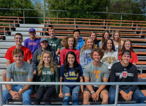 Senior committed athletes, front row from left to right, Blake Hazelton, Nikki Trucco, Lexi Trucco, Connor Lawrence, and Josh Giffins; second row: Brody Steinhart, JP Guimareas, Dylan Lisle, Daniella Hawkins, Lainey Hanehan, and Alexis Burt; third row: Mark Balleza, Karl Lovett, Alex Zhu, Sydney Hammill, Amanda Robman, and Sydney Frankenberger.