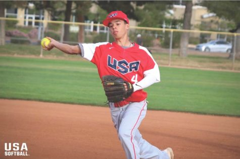 Men's softball plater goes international