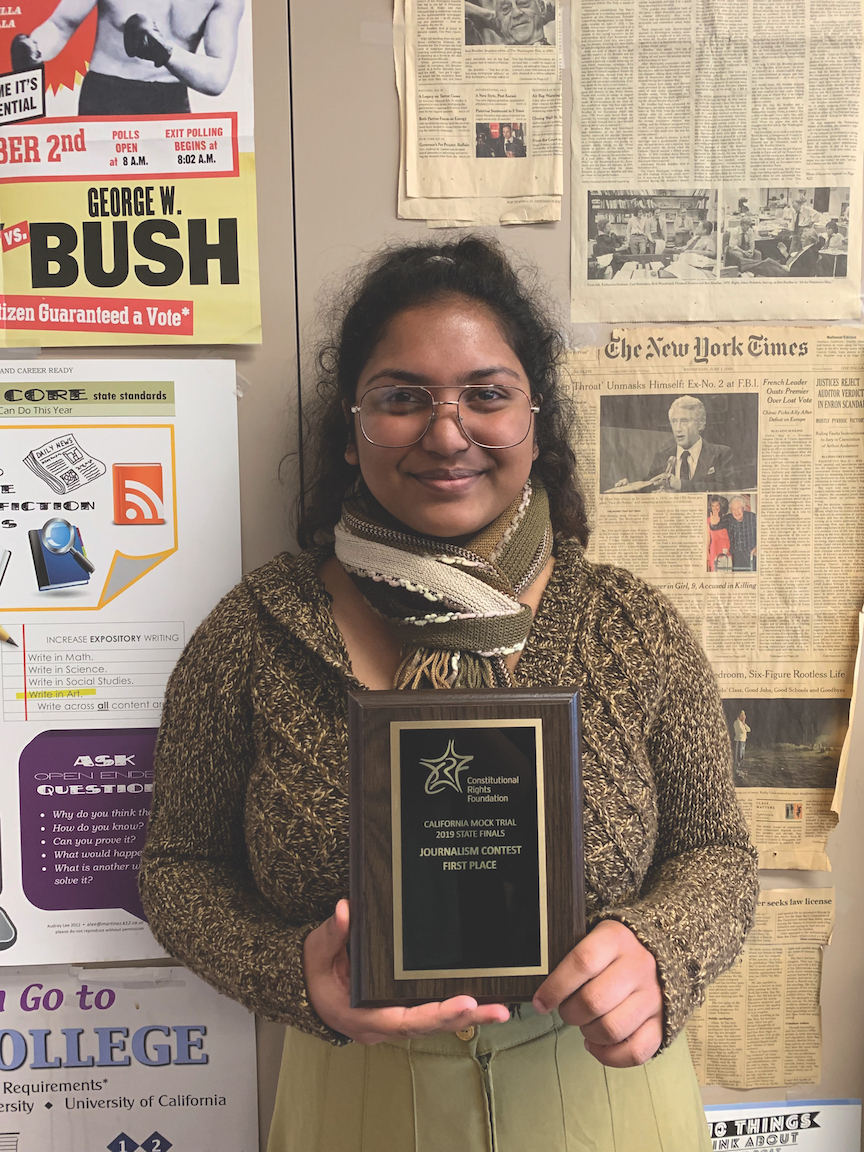 Californian editor in chief Vidhima Shetty was named the mock trial state champion courtroom journalist this year.