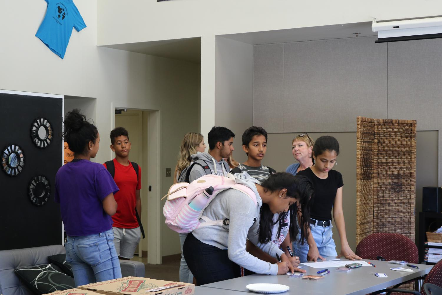 Students sign into the wellness room where they are welcome when they feel overwhelmed or simply need a place to relax.
