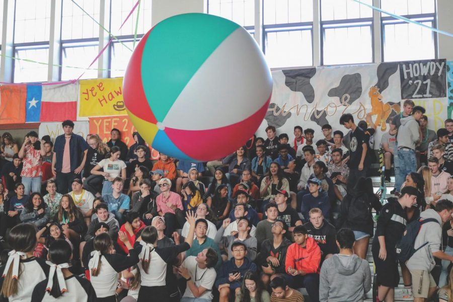 Students toss around a giant beach ball during a rally last school year before the coronavirus pandemic closed campus on March 16. Leadership students are planning different types of events for the rest of this school year.