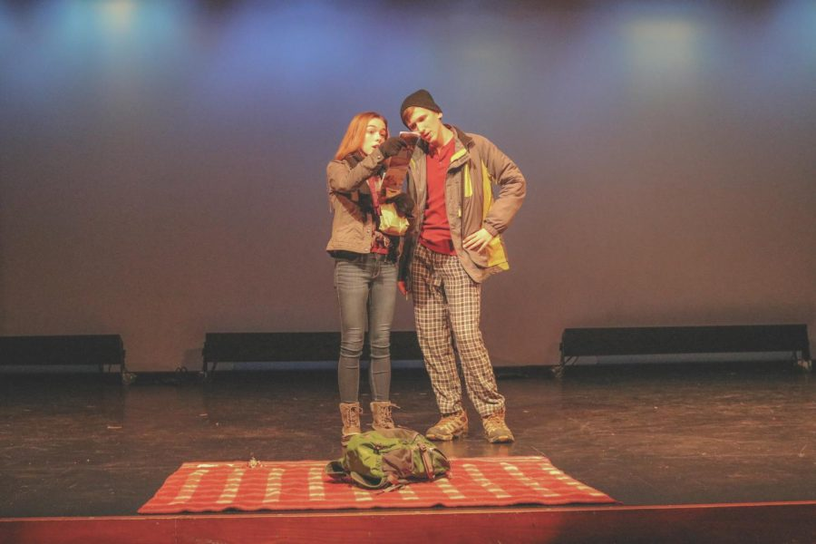 """Actors Ashley Teele. left, and Ben Duggins perform a scene in the touching, yet humorous play, """"Almost, Maine"""", which Cal's drama department performed on campus last week."""