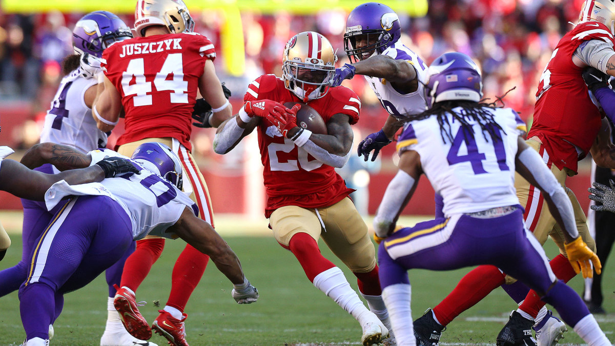 San Francisco running back Tevin Coleman led the 49ers rushing attack with 105 yards and 2 TDs in the team's 27-10 win over Minnesota in the divisional round game on Jan. 11. He could play an instrumental role in Sunday's NFC Championship Game against Green Bay. Photo courtesy of Sports Illustrated.