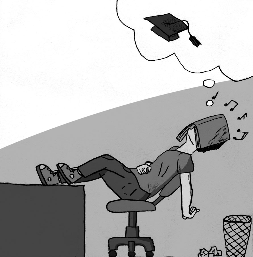A hardworking senior takes a well-deserved nap and dreams of his graduation day after enduring four agonizing years of high school. Illustration by Thomas Tsuchimoto.