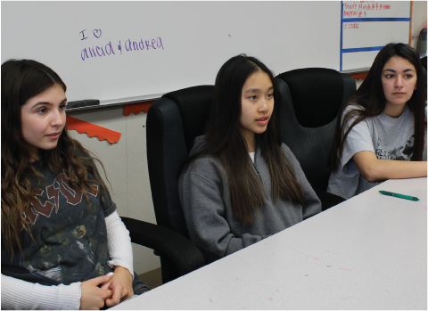 Class of 2021 officers from left to right: treasurer Andrea Georgieva, vice president Amanda Le, and president Alicia Loney had a meeting discussing the 2020 Junior Prom, which they have been planning for about two years.