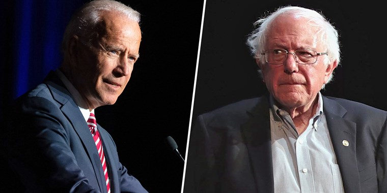 Former Vice President Joseph R Biden and Senator Bernie Sanders vied for the Democratic Party nomination in a once-crowded field of hopefuls. By Super Tuesday, only a handful remained. Photo courtesy NBC News.