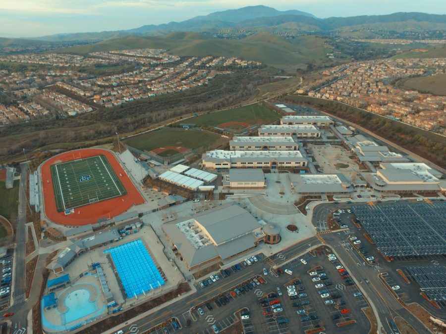This drone shot shows a bird's eye view of Doughterty's sprawling campus. In the background of the school is Mount Diablo and the valley.