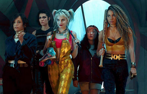 "The main cast in ""Birds of Prey"" is pictured above, starring (named left to right in order) Rosie Perez, Mary Elizabeth Winstead, Margot Robbie, Ella Jay Basco, and Jurnee Smollett-Bell. Photo courtesy of Birds of Prey."