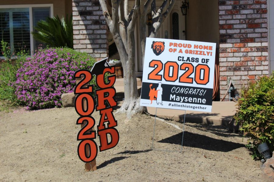 Yard signs decorate the homes of many seniors, thanks to Cal High Parents through the PTSA.