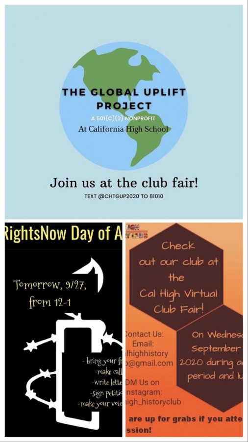 Clubs posted flyers online to attract students during the school's first virtual Club Faire on Sept. 23.