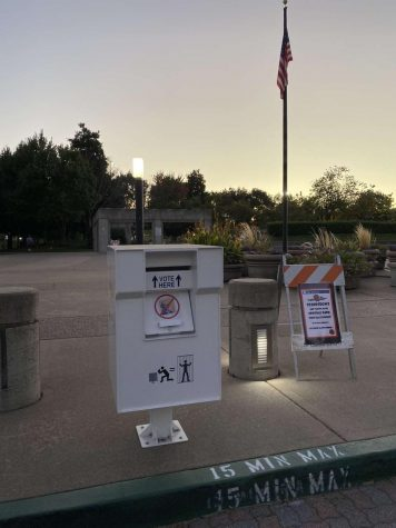 This ballot drop box in front of San Ramon City Hall can be used for voters who prefer to mail their ballots instead of standing on line.