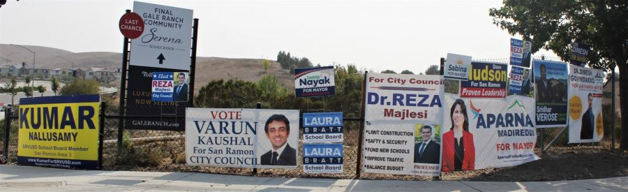 Campaign signs populate city street corners as candidates promote themselves for San Ramon city council and mayor, and the San Ramon Unified School District Board of Education. The election is Nov. 3.