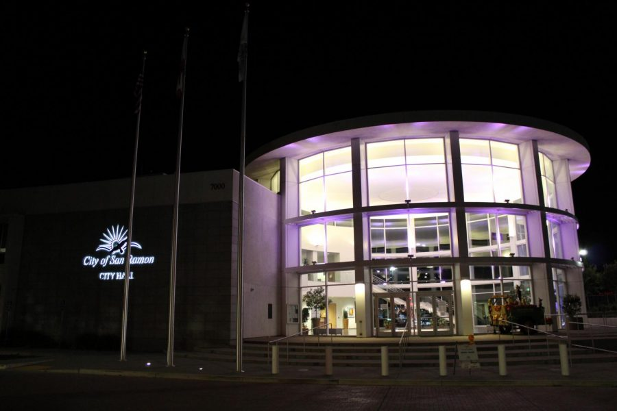 San Ramon City Hall lights up purple to show support for Domestic violence awareness month in October. Lighting up City Hall for certain awareness months and holidays has become a tradition in San Ramon.