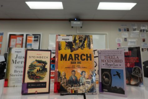 "The classic novels ""Of Mice and Men"" and ""To Kill a Mockingbird"" - displayed here in Cal High"