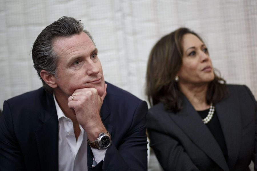 Gavin+Newsom%2C+left%2C+will+name+a+replacement+for+Senator+Kamala+Harris%2C+who+becomes+vice+president+on+Jan.+20.