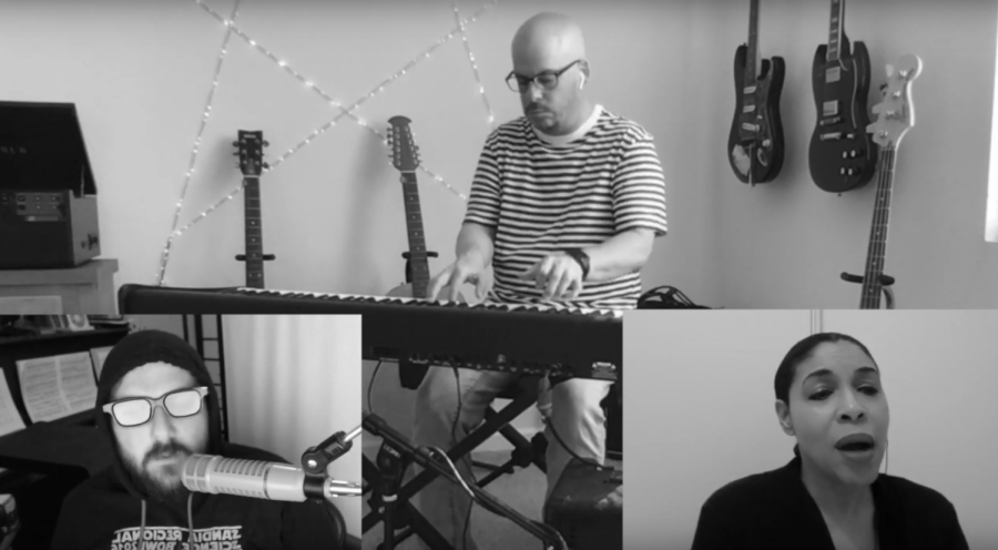 In Partial Credit's first YouTube video of the 2020-2021 school year, Spanish teacher Scott Tinetti (top), former choir teacher Nick Patton (left), and new choir teacher Lori Williams  performed a cover of Duran Duran's