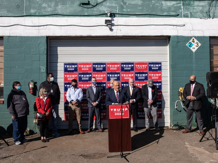 Rudy Guiliani and his crew host a post-election press conference in front of the illustrious Four Seasons Total Landscaping.