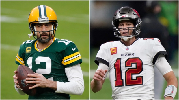 Quarterbacks Aaron Rodgers, left, and Tom Brady face off Sunday with the NFC title on the line. If Brady's Tampa Bay Buccaneers win, he will reach his 10th Super Bowl. Rodgers is going for his second trip to the big game with the Green Bay Packers.
