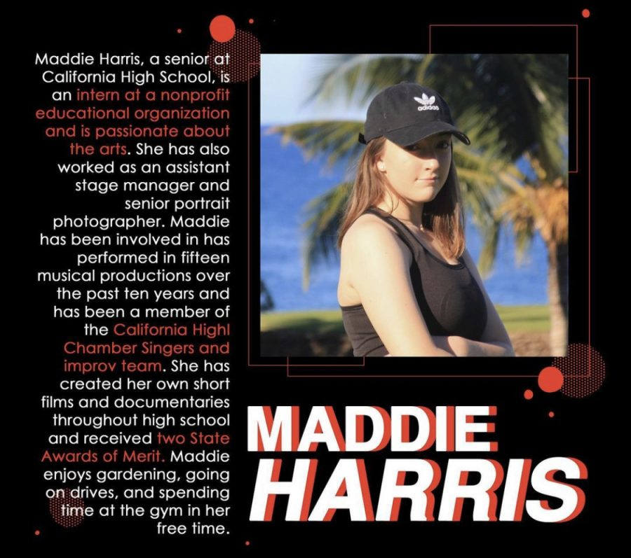 Senior Maddie Harris, seen here in her promotional TedxCHS poster, is one of the scheduled participants in the new club's speaker series later this month. Harris's talk will focus on how Americans can mend the country's political divide.
