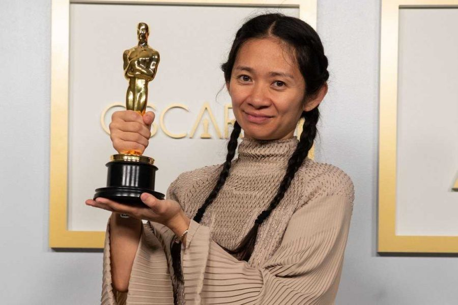 Chloe+Zhao+became+the+first+Asian+female+to+win+Best+Director.+Zhao+directed+the+film+%22Nomadland%22%2C+which+also+won+Best+Picture+at+Sunday%27s+Oscars.