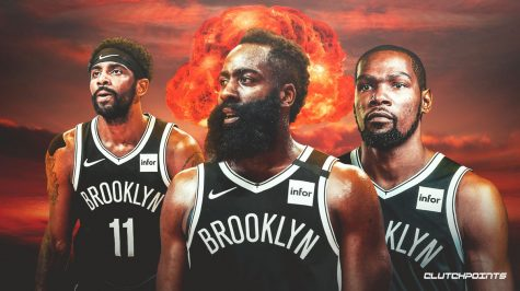 The trio of Kyrie Irving, left, James Harden, center, and Kevin Durant are among the favorites to win the NBA title this year.