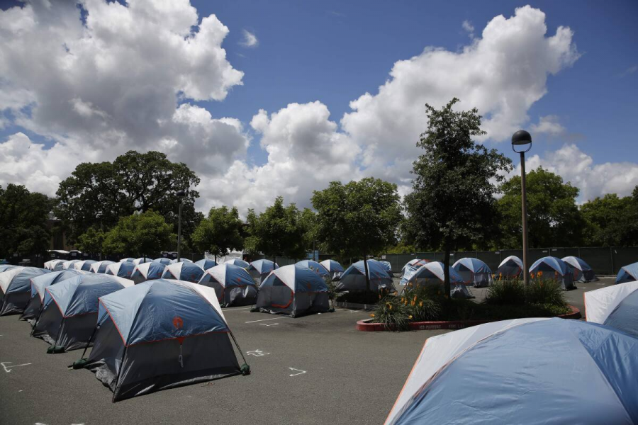 Santa Rosa was able to successfully initiate a $680,000 plan that included 68 tents all spaced 12 feet apart in the empty parking lot of Finley Community Center.